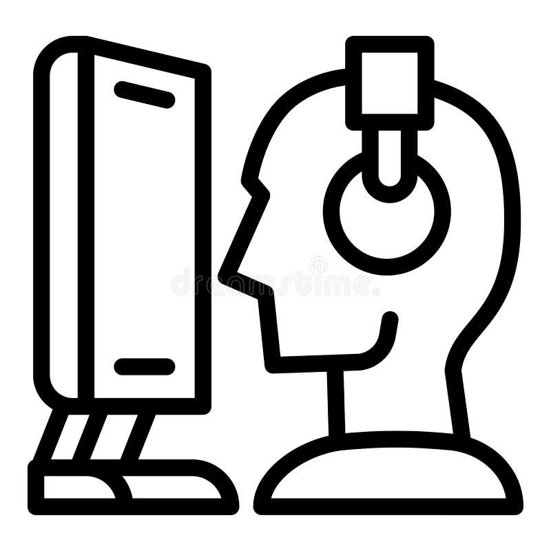 Användare- och datorsymbol, översiktsstil royaltyfri illustrationer