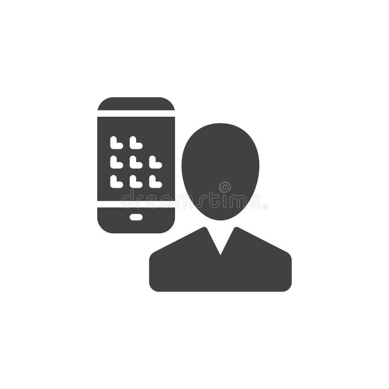 Användare och mobiltelefon, smartphonesymbolsvektor, fyllt plant tecken, fast pictogram som isoleras på vit vektor illustrationer