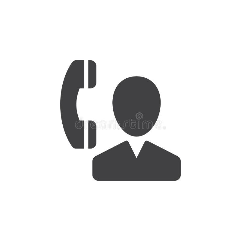 Användare och telefon, kontaktsymbolsvektor, fyllt plant tecken, fast pictogram som isoleras på vit stock illustrationer