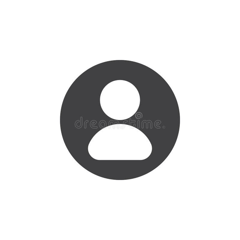Användare plan symbol för konto Rund enkel knapp, runt vektortecken stock illustrationer