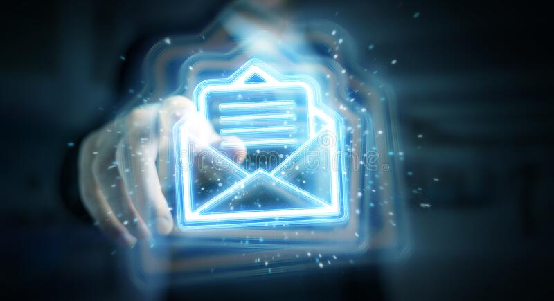Användare som använder digital e-postblå holografisk gränssnittsrendering 3D arkivfoton