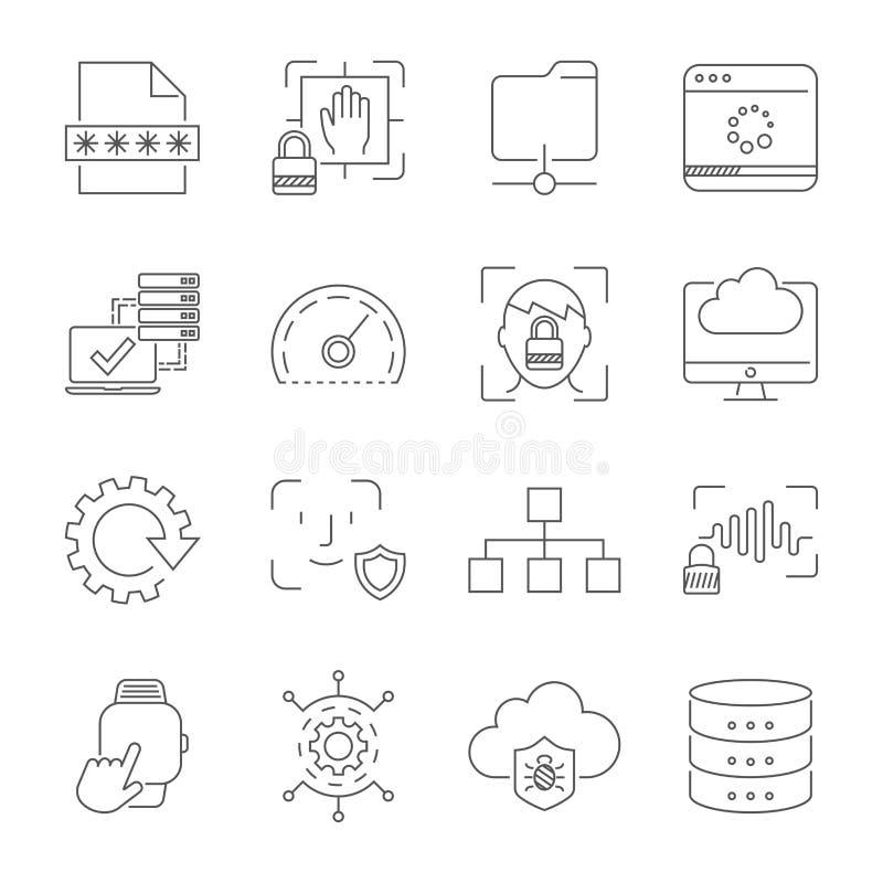 Användareerfarenhet och användbarhet, digitala teknologier, apps och manöverenhetstecken och symboler Redigerbar slagl?ngd 10 eps stock illustrationer