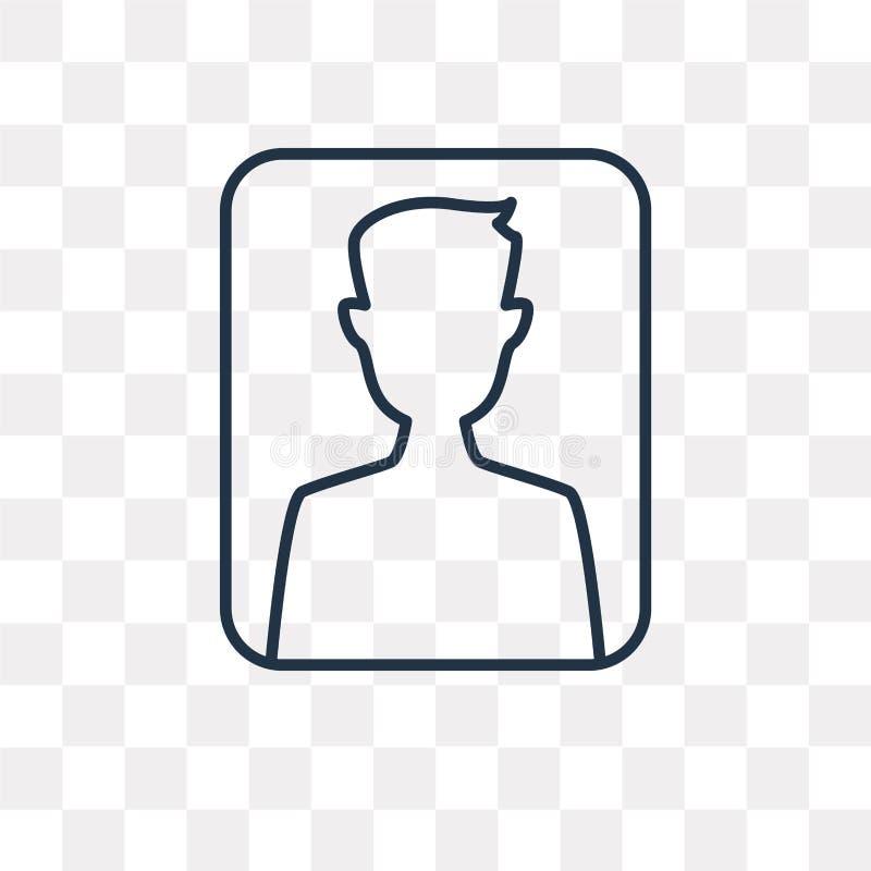 Användarevektorsymbol som isoleras på genomskinlig bakgrund, linjär användare vektor illustrationer