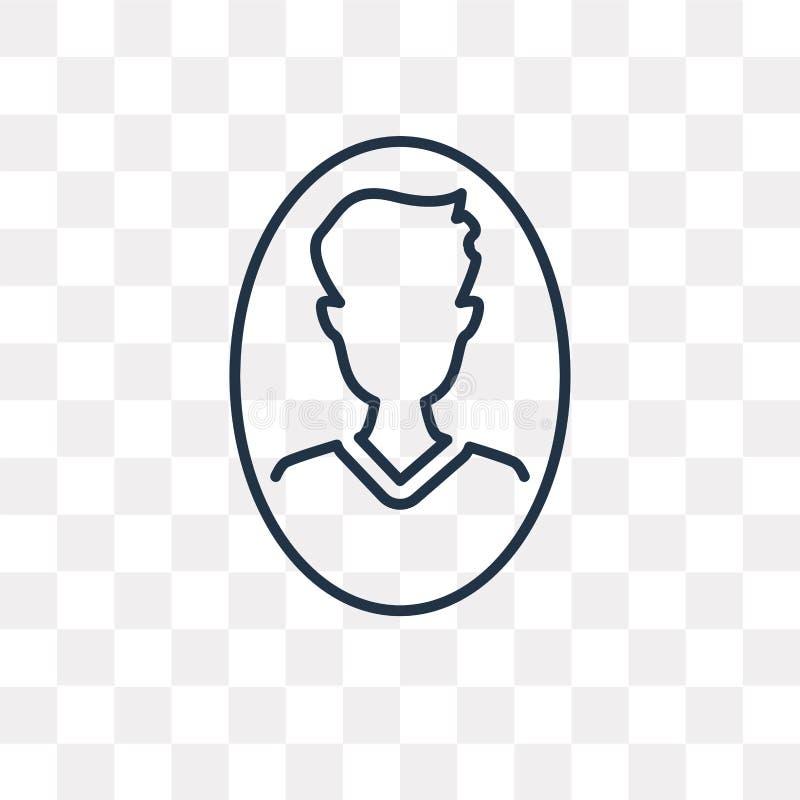 Användarevektorsymbol som isoleras på genomskinlig bakgrund, linjär användare stock illustrationer