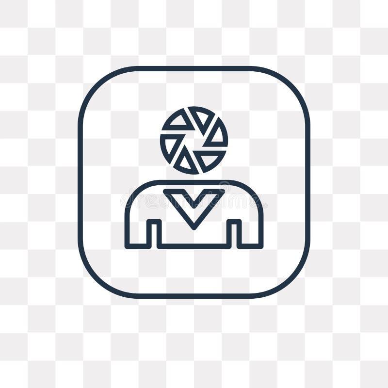 Användarevektorsymbol som isoleras på genomskinlig bakgrund, linjär användare royaltyfri illustrationer