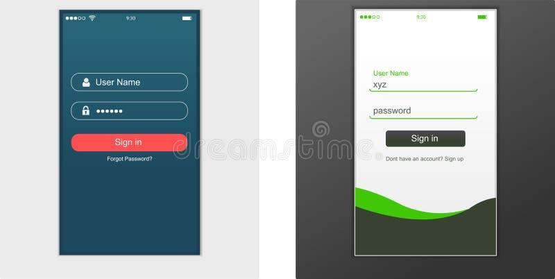Användargränssnitt applikationmalldesign för mobiltelefon royaltyfri illustrationer