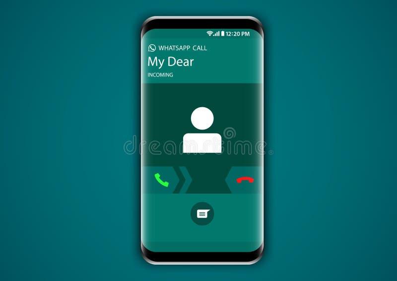 Användargränssnitt för skärm för inkommande appell för Whatsapp budbärare royaltyfri illustrationer