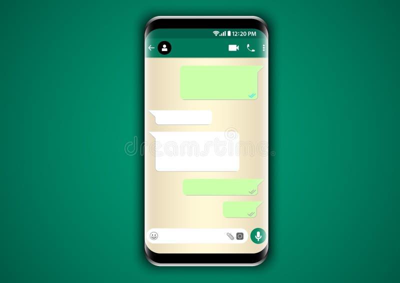 Användargränssnitt för Whatsapp budbärarepratstund royaltyfri illustrationer