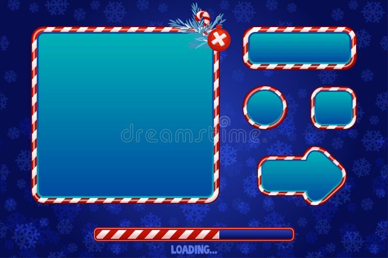 Användargränssnitt och element för spel eller webbdesign Knappar, skivor och ramar i rött och blått Inläsningsgränssnitt för spel vektor illustrationer