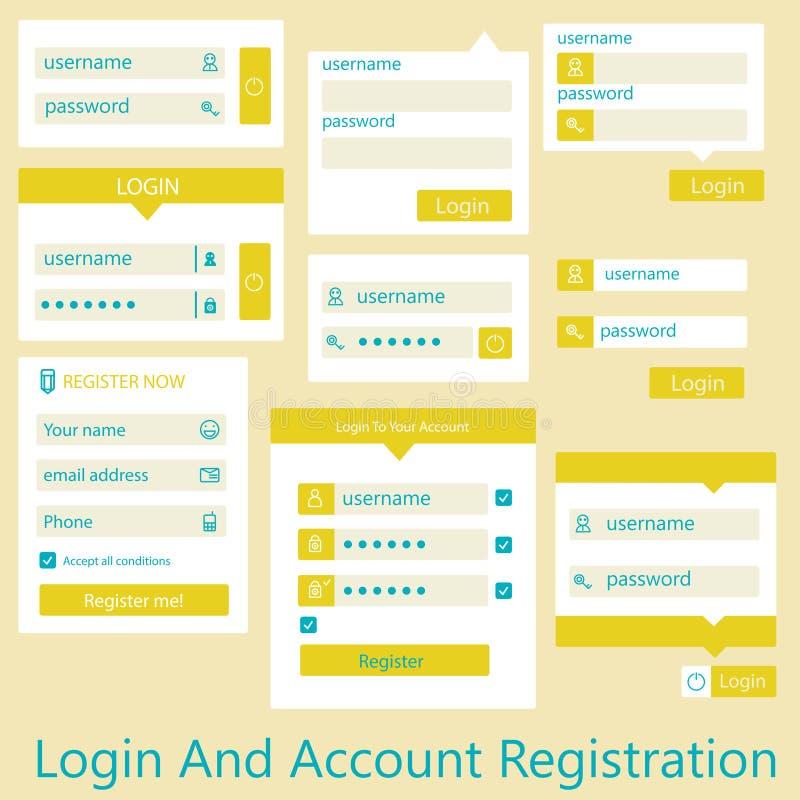 Användargränssnittinloggnings- och kontoregistrering stock illustrationer