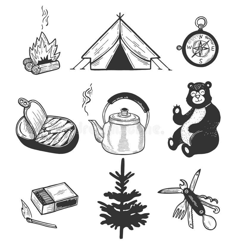 Användbara objekt för gående fotvandra som isoleras på vit bakgrund royaltyfri illustrationer