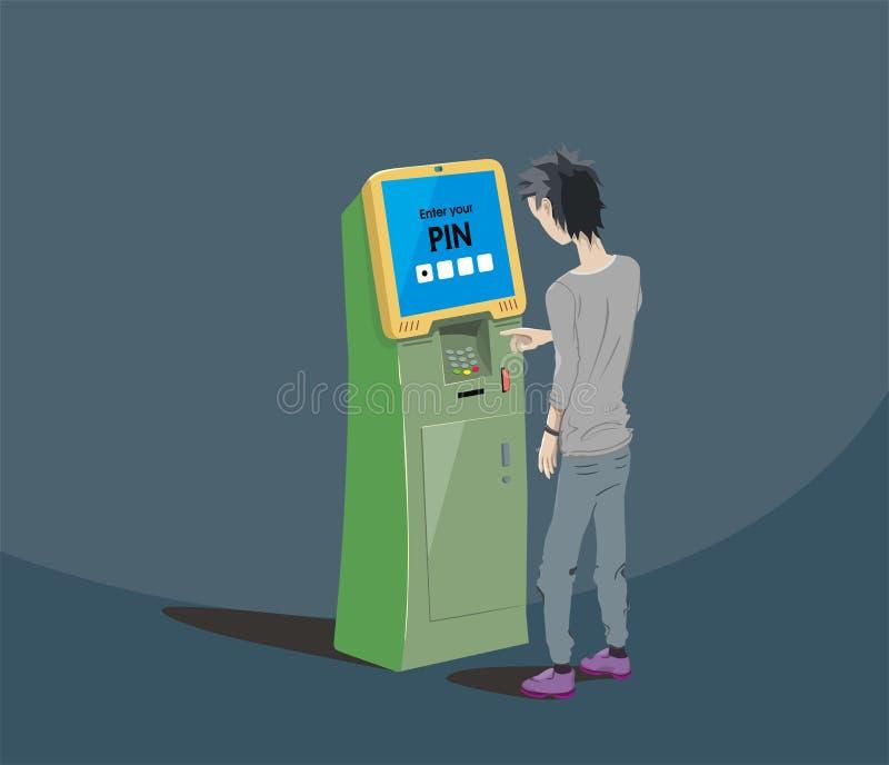 Använder den unga grabben för brunetten betalningterminalen, den växelverkande kiosket, vektordesign royaltyfri illustrationer