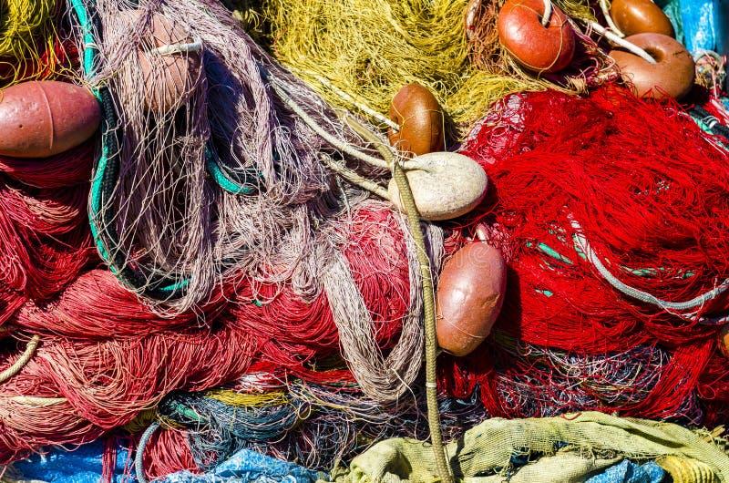 Använt fisknät med floaters arkivfoto