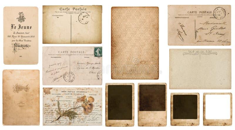 Använt papper lappar vykortfotoramen arkivbilder