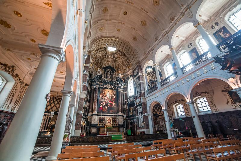 Interiors of Saint Charles Borromee church, Anvers, Belgium stock photography