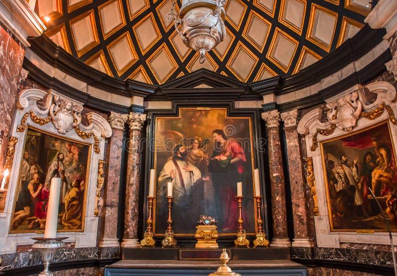 Interiors of Saint Charles Borromee church, Anvers, Belgium stock photos