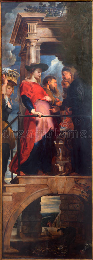 Anvers - visite de Vierge Marie à Elizabeth par P P, Rubens dans la cathédrale de notre Madame image stock