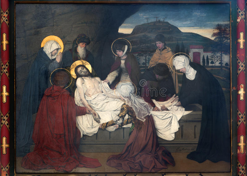 Anversa - affresco - sepoltura di Gesù da Josef Janssens a partire dagli anni 1903 - 1910 nella cattedrale della nostra signora fotografie stock libere da diritti