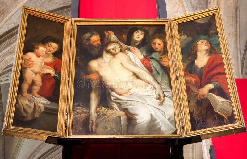 Anversa - il lamento dal pittore barrocco Peter Paul Rubens nella cattedrale della nostra signora immagini stock libere da diritti