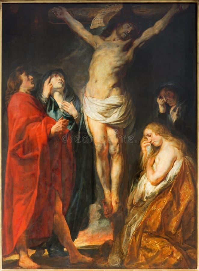 Anversa - la pittura di crocifissione da grande Jacon matrice barrocco Jordaens nella chiesa della st Pauls (Paulskerk) immagini stock libere da diritti
