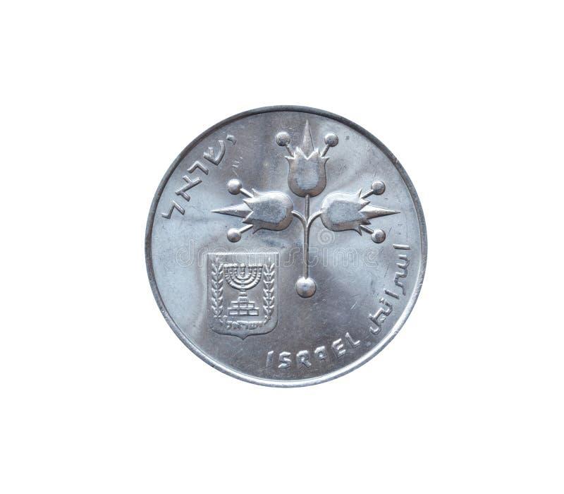 Anverso da moeda de 1 lira feita por Israel foto de stock
