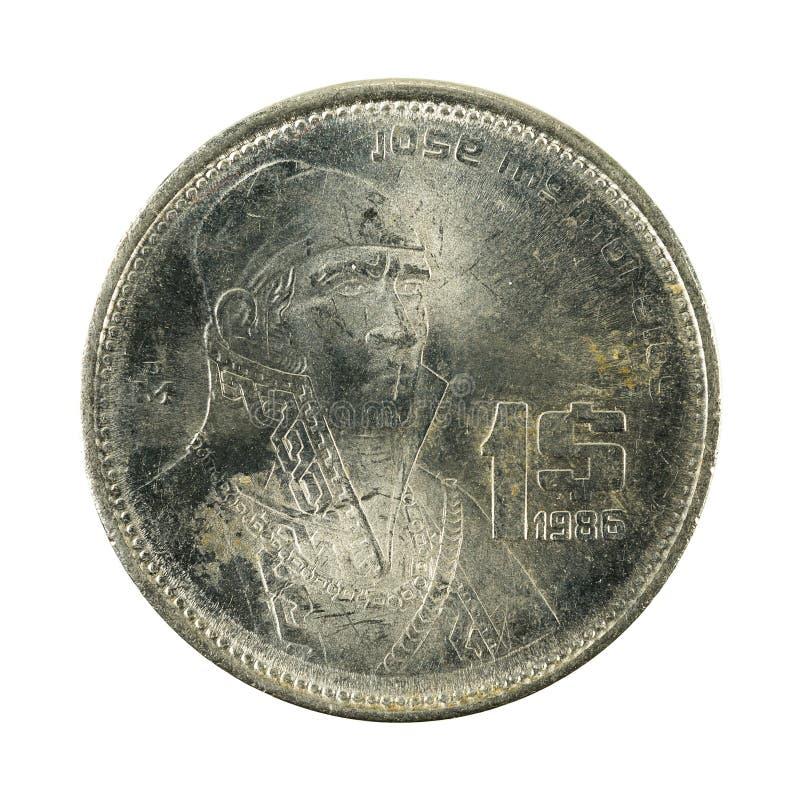 1 anverso da moeda 1986 do peso mexicano isolado no fundo branco imagens de stock