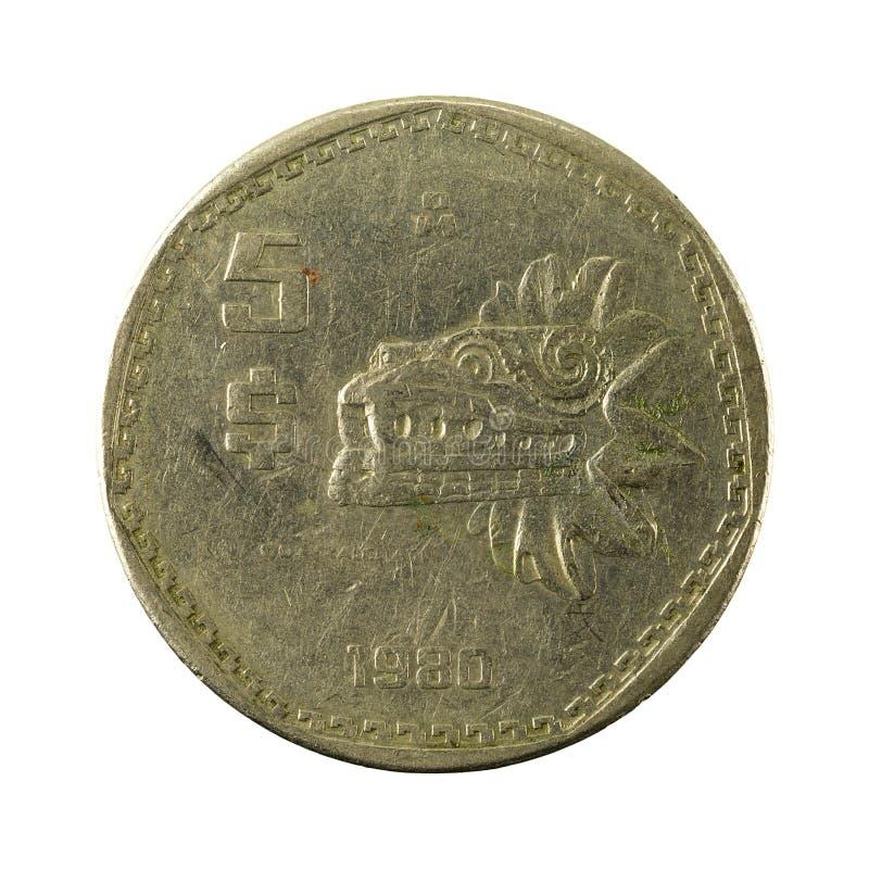 anverso 1980 da moeda do peso 5 mexicano isolado no fundo branco imagem de stock royalty free