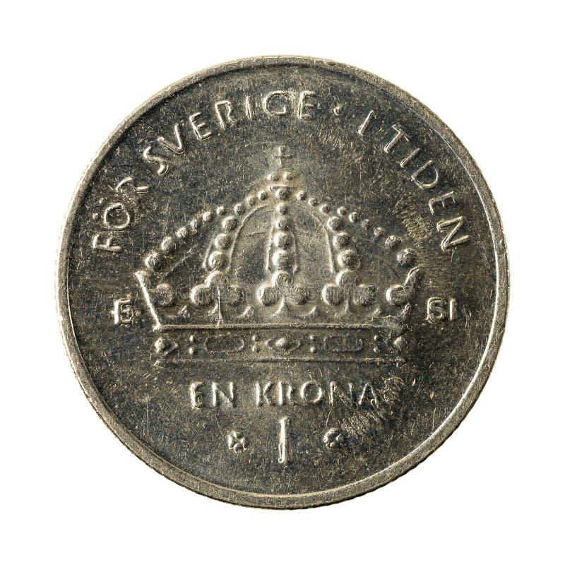 1 anverso de la moneda 2007 de la corona sueca aislado en el fondo blanco foto de archivo libre de regalías