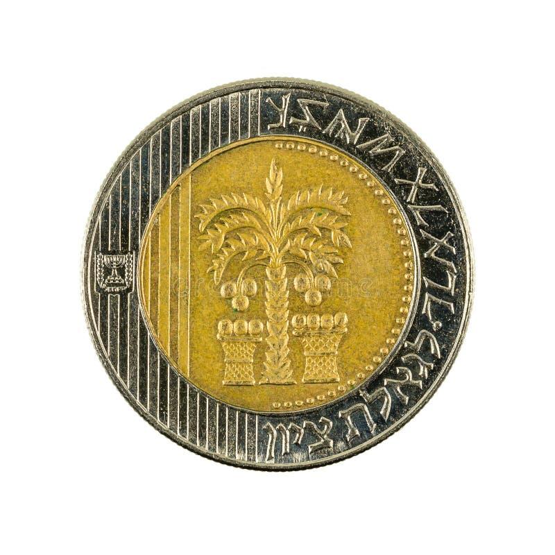 anverso novo israelita do reverso da moeda do shekel 10 isolado imagem de stock
