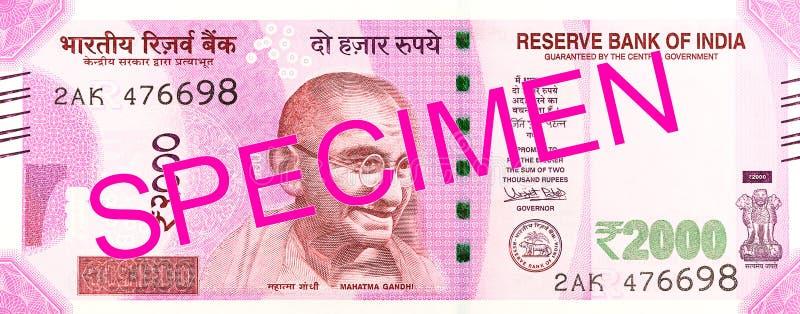 2000 anversos del billete de banco de la rupia india imagen de archivo libre de regalías