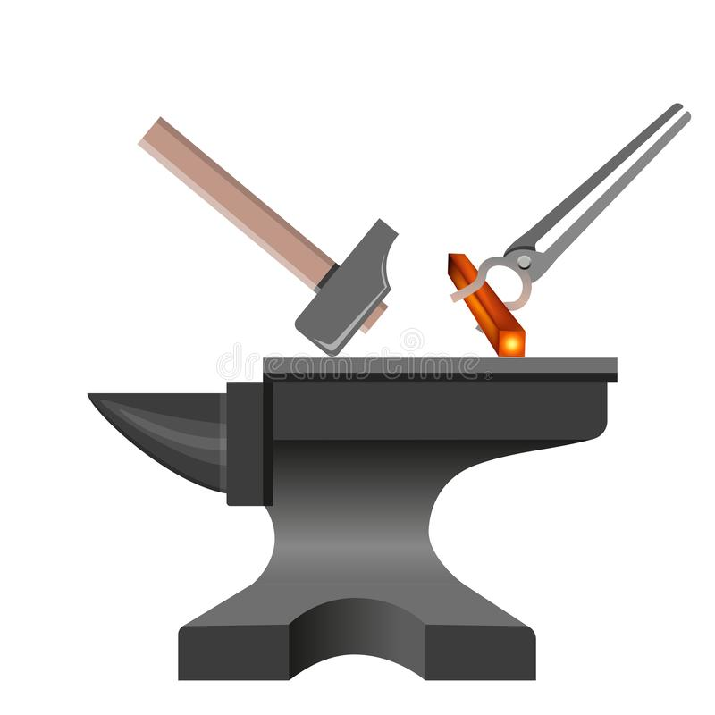 Anvil with hammer and tongs royalty free illustration