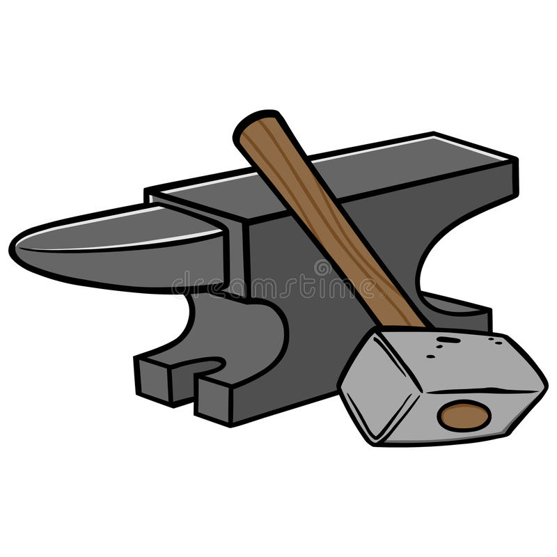 Anvil and Sledgehammer royalty free illustration