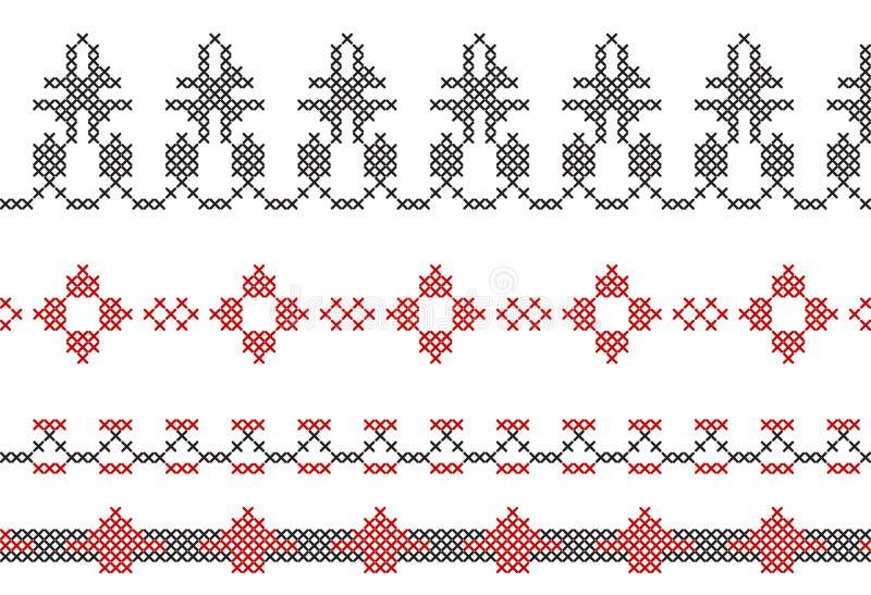 Anvisning för korsstygngränser av ramar stock illustrationer