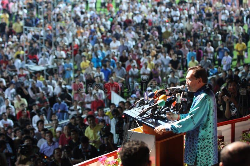 anwar产生的ibrahim马来西亚政客演讲 库存图片