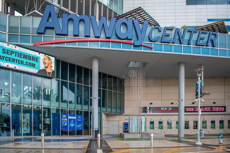 Anway Center main entrance at downtown area 1. Orlando, Florida. August 17, 2019. Anway Center main entrance at downtown area 1 stock photography