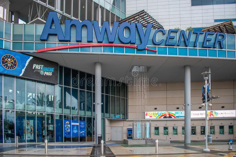 Anway Center main entrance at downtown area 2. Orlando, Florida. August 17, 2019. Anway Center main entrance at downtown area 2 royalty free stock photo