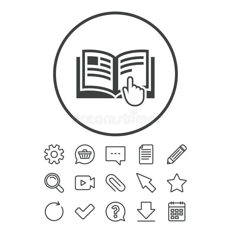 Anweisungszeichenikone Manuelles Buchsymbol stock abbildung