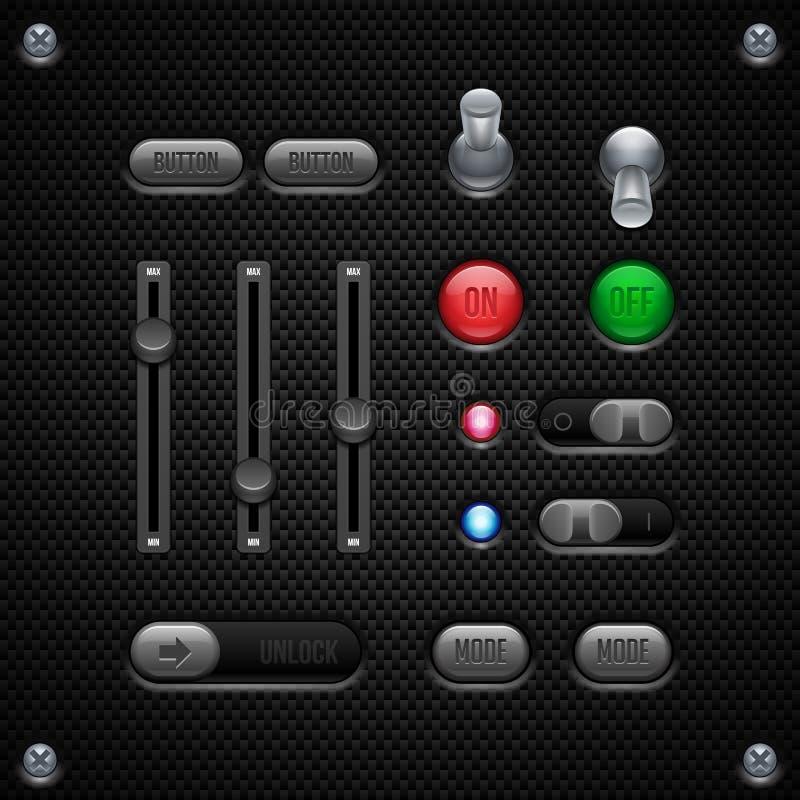 Anwendersoftware-Kontrollen des Kohlenstoff-UI eingestellt Schalter, Griffe, Knopf, Lampe, Volumen, Entzerrer, LED, entriegeln stock abbildung