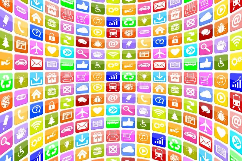 Anwendung Apps APP-Ikonen-Ikonen für bewegliches oder intelligentes Telefon backgr lizenzfreie abbildung