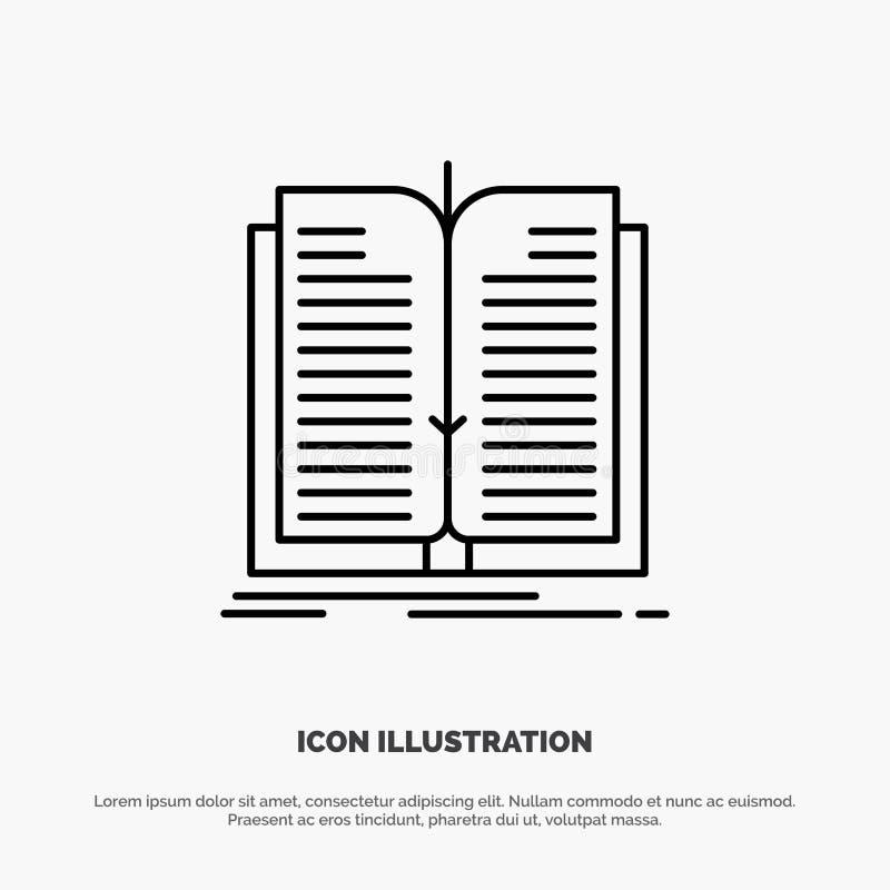 Anwendung, Datei, Übertragung, Buch-Linie Ikonen-Vektor stock abbildung
