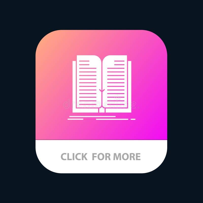 Anwendung, Datei, Übertragung, Buch mobiler App-Knopf Android und IOS-Glyph-Version lizenzfreie abbildung