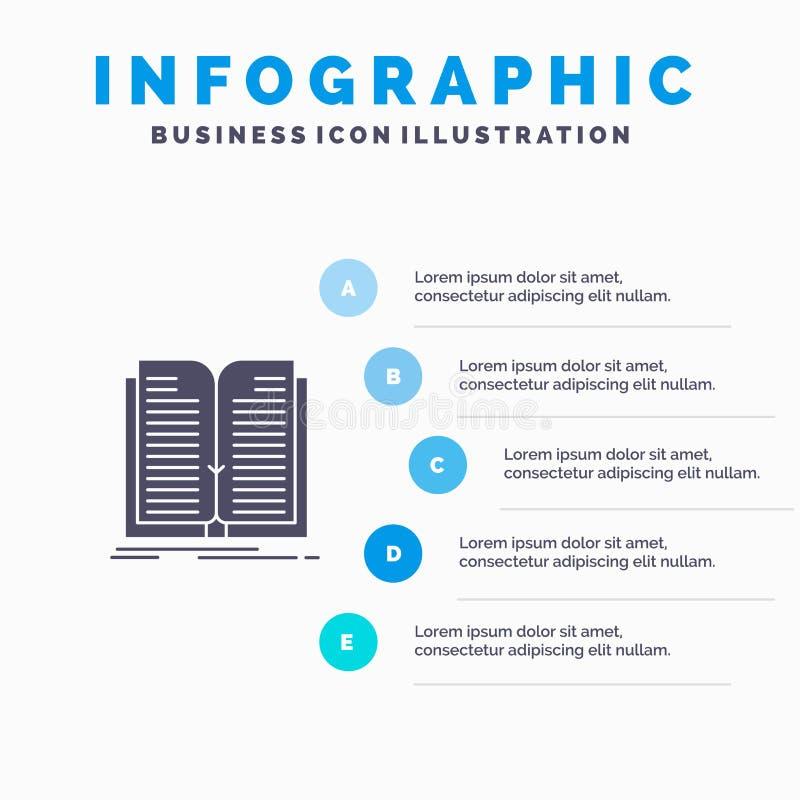Anwendung, Datei, Übertragung, Schritt-Darstellungs-Hintergrund Buch-fester Ikone Infographics 5 lizenzfreie abbildung