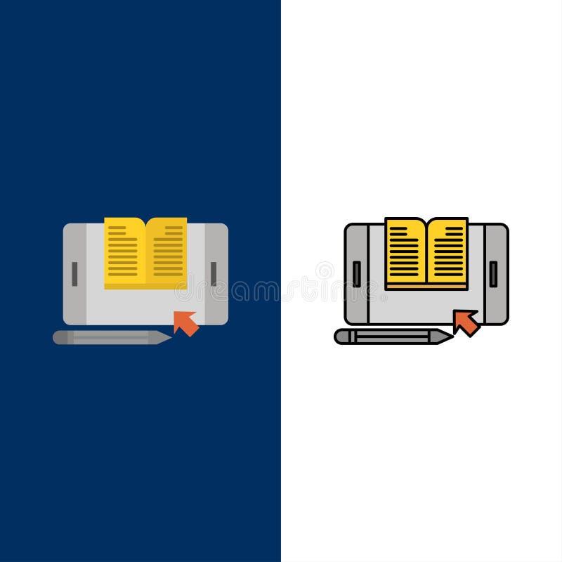 Anwendung, Datei, Smartphone, Tablet, Übergangsikonen Ebene und Linie gefüllte Ikone stellten Vektor-blauen Hintergrund ein lizenzfreie abbildung