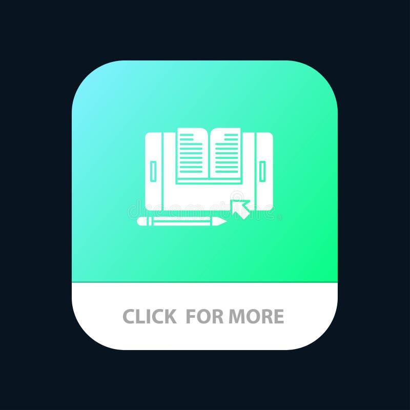 Anwendung, Datei, Smartphone, Tablet, Übergangsmobiler App-Knopf Android und IOS-Glyph-Version vektor abbildung