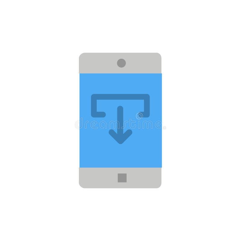 Anwendung, Daten, Download, Mobile, bewegliche Anwendungs-flache Farbikone Vektorikonen-Fahne Schablone lizenzfreie abbildung