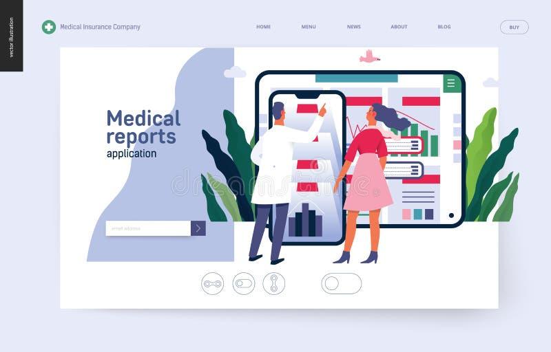 Anwendung der ärztlichen Atteste - Krankenversicherungsschablone stock abbildung