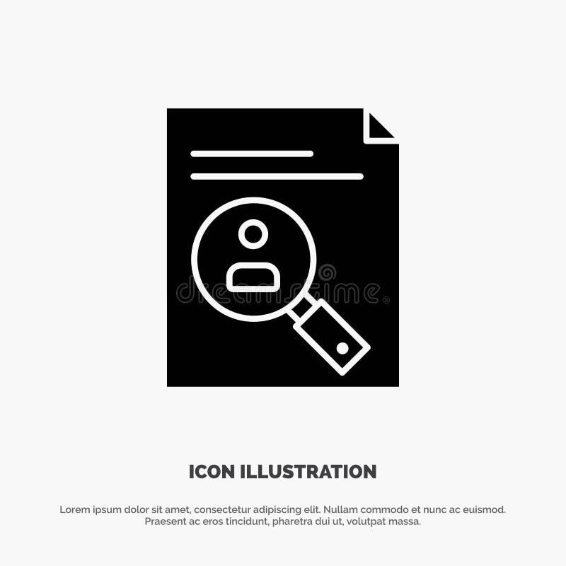 Anwendung, Klemmbrett, Lehrplan, Lebenslauf, Zusammenfassung, Personal fester Glyph-Ikonenvektor lizenzfreie abbildung