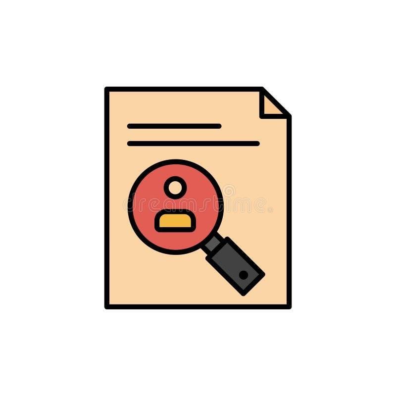 Anwendung, Klemmbrett, Lehrplan, Lebenslauf, Zusammenfassung, Personal-flache Farbikone Vektorikonen-Fahne Schablone vektor abbildung