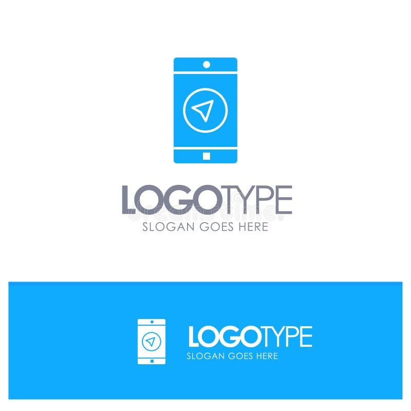 Anwendung, Mitteilung, mobile Apps, poniter blaues festes Logo mit Platz für Tagline vektor abbildung