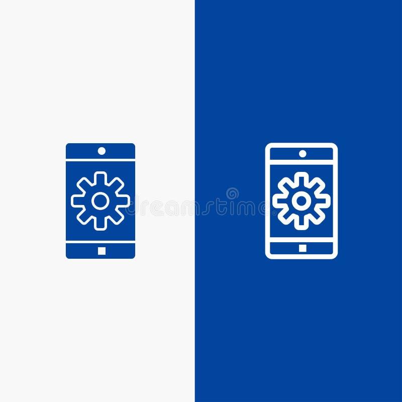 Anwendung, Mobile, bewegliche Anwendung, blaue Fahne der blauen Fahne einstellend der Linie und des Glyph der festen Ikone Ikone  stock abbildung